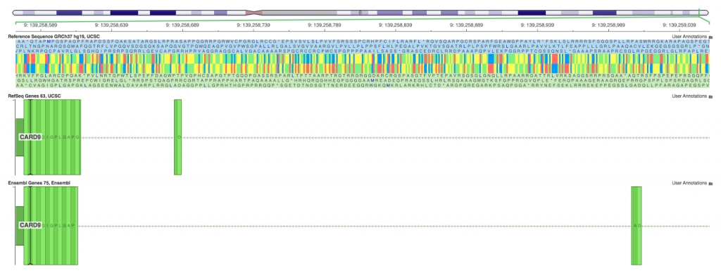 Genomebrowse viewer on BLAT/Ensembl placement
