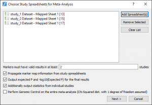 Select the study spreadsheets for Meta-Analysis