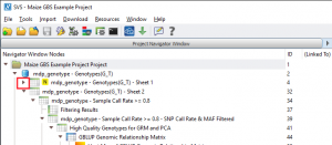 Click on the indicated arrow to expand the project tree and see hidden spreadsheets
