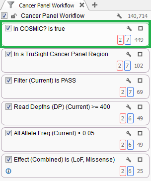 Fig 3. This 'In COSMIC?' filter card can quickly isolate only variants in the COSMIC database.