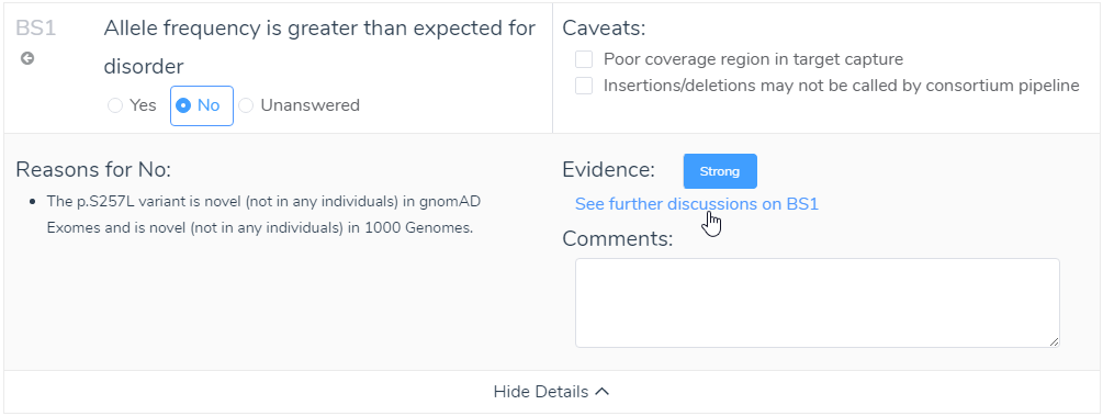 Utilizing available evidence in the show details for criteria can provide support for answering challenging criteria.