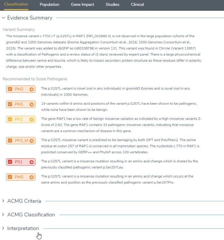 The classification tab will display all answered criteria under evidence summary, which can be imported into the interpretation section.