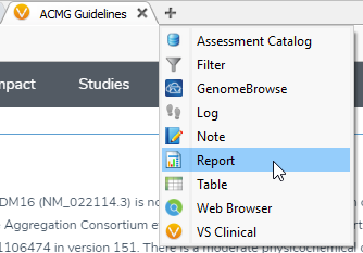 To render a clinical report click on the + icon and select report.