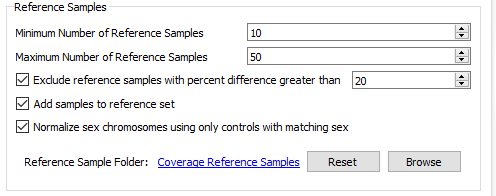 Fig 19. Reference sample settings in the CNV algorithm menu.