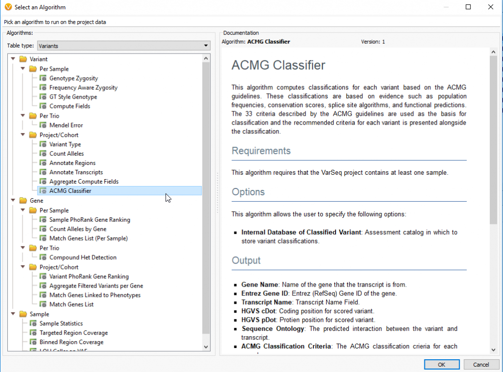 The ACMG Classifier is located under Project/Cohort in AddàComputed Data.