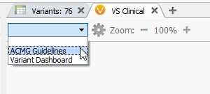 VSClinical can be accessed by clicking on the plus icon then selecting the ACMG Guidelines.