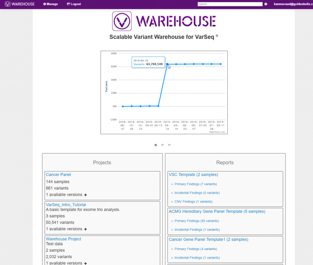 VSWarehouse browser page listing all projects, reports, and catalogs uploaded from VarSeq.