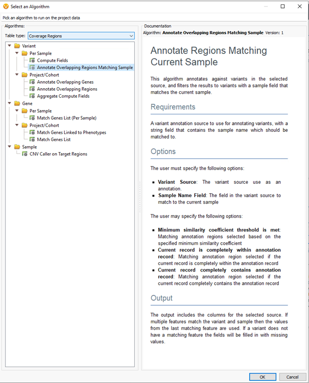 This algorithm annotates against regions matching the current sample.