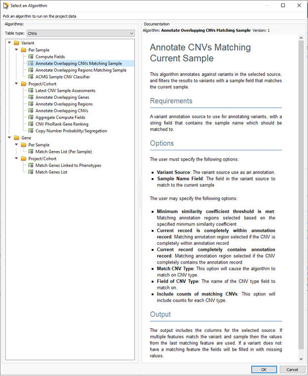 This algorithm annotates CNVs matching the current sample.